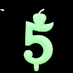 Zöld számgyertya - 5