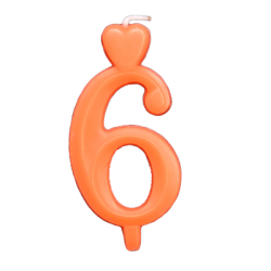 Narancssárga számgyertya - 6